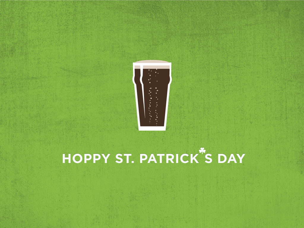 "jpg of beer on green background with text ""hoppy st. patrick's day"""